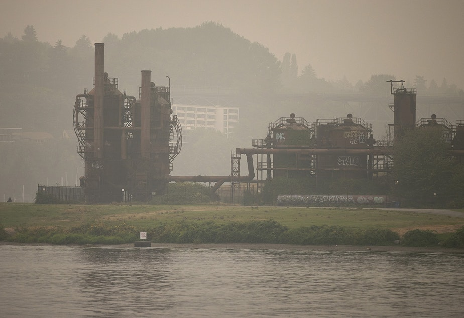 caption: Gas Works Park is shown shrouded in smoke from wildfires burning in Oregon and California, on Saturday, September 12, 2020, in Seattle.