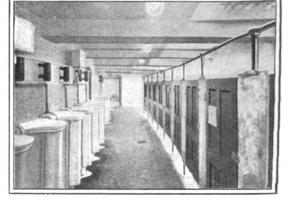 "caption: An illustration in ""The Building Age"" from October 1911 shows part of the comfort station built in Seattle's Pioneer Square."