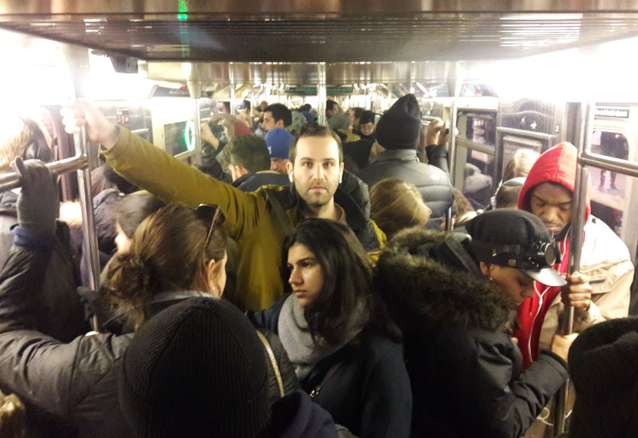 A crowded subway in New York in November, 2018