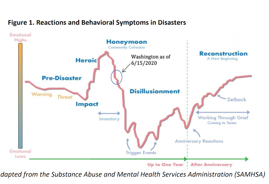 caption: Chart from the latest analysis of forecasted behavioral health Impacts from COVID-19