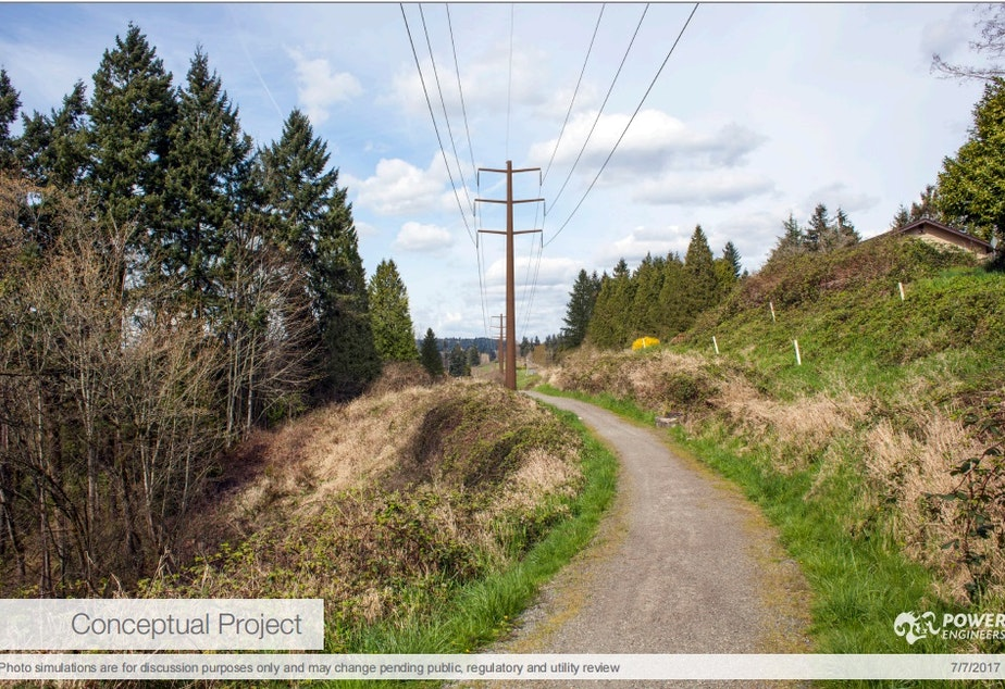 caption: Conceptual photo of high-voltage power lines running through Bellevue, as proposed by Puget Sound Energy.