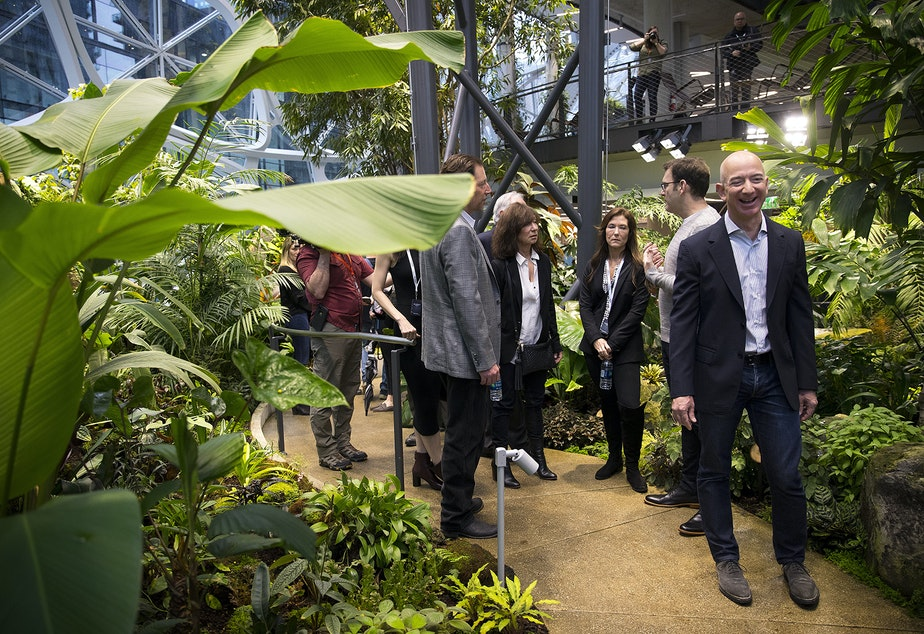 caption: Amazon CEO Jeff Bezos tours the Amazon Spheres greenhouse in 2018. His company plans to disclose its contribution to the greenhouse effect in 2019.