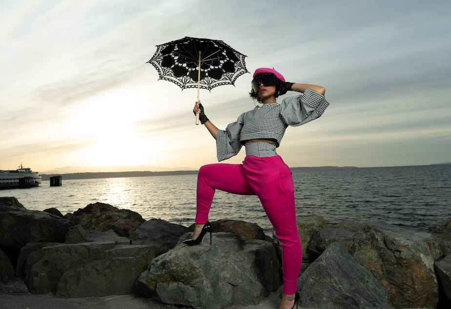caption: A look designed and styled by Renton-based up-and-coming fashion designer Jamen Lanogwa Saziru who hopes to lead the way in transforming Seattle into a fashion destination.