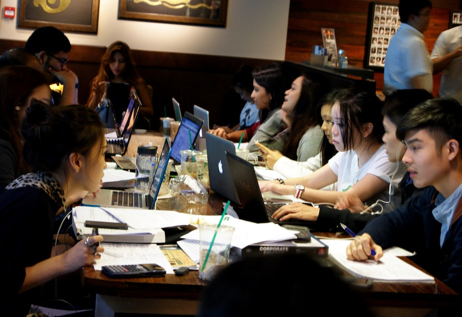 Students study in a Singapore Starbucks.