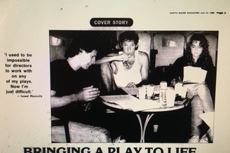In 1989, <em>The Gloucester Daily Times </em>reviewed 'The Widow's Blind Date,' written by Israel Horovitz (center). It's a play that depicts a woman confronting her rapists. Jocelyn Meinhardt (right), who worked on the play at the time, says she was sexually assaulted by Horovitz.