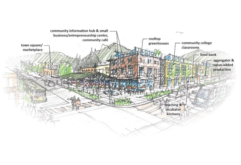 An early rendering of a Rainier Beach food innovation center.