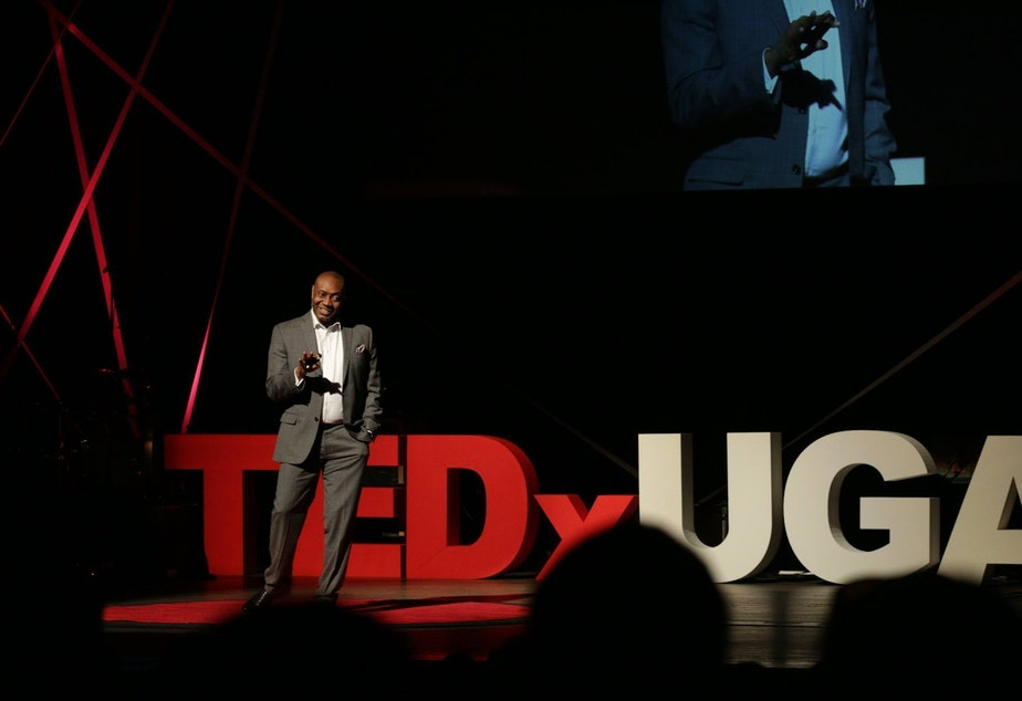 J. Marshall Shepherd on the TED stage.