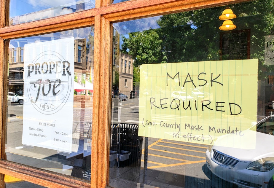 caption: Businesses in Snohomish County have required masks since before the statewide mandate due to high covid cases. Monday, August 23, 2021.