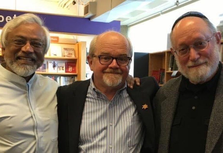 caption: The Pacific Northwest Interfaith Amigos. From left to right: Imam Jamal Rahman, Pastor Dave Brown, Rabbi Ted Falcon. Their aim is to address taboos of interfaith dialogue and create an authentic conversation between themselves and their audiences.