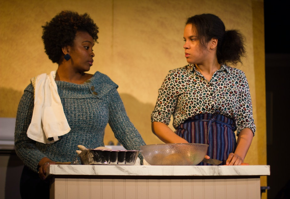 "Actresses Kia Pierce and Marquicia Dominguez in Rachel Atkins' play, ""Black Like Us."""