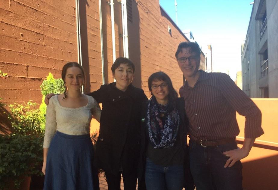 caption: Monica Nickelsburg, Erica Barnett, Monica Guzman and Bill Radke [L-R]