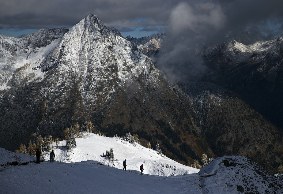 Hikers near Heather Pass are shown on Sunday, October 8, 2017, in the North Cascades National Park.