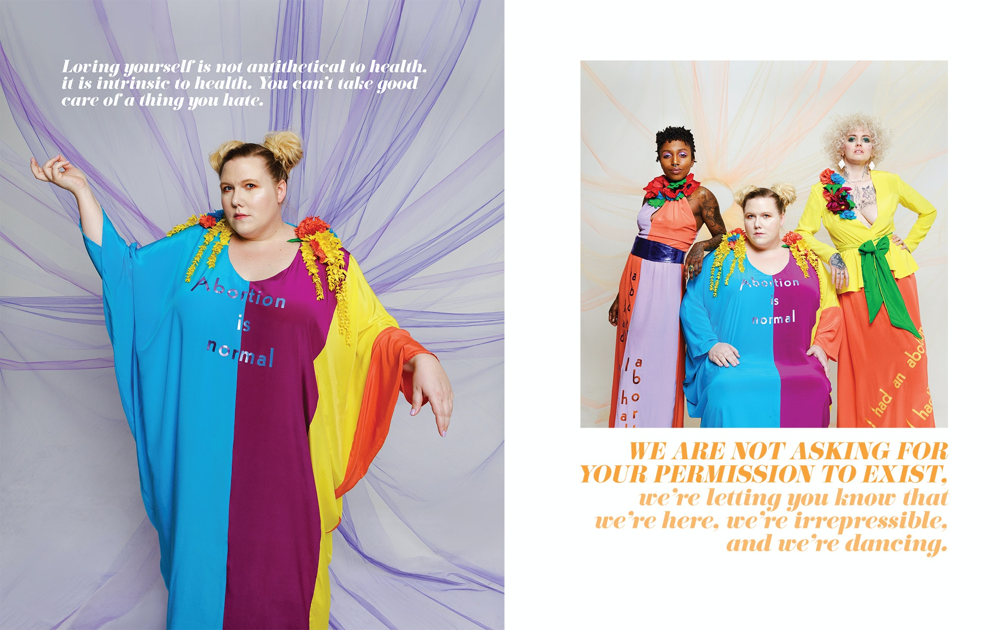Lindy West (left) and Alana Edmondson, Lindy West and Shannon Perry (right) modeling abortion couture designed by Mark Mitchell.