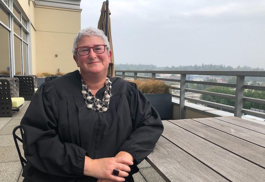 caption: King County Superior Court Judge Johanna Bender is presiding over civil cases at Meydenbauer Center in Bellevue.