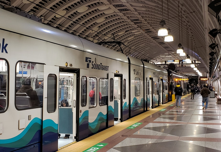 caption: A Sound Transit train in downtown Seattle, Thursday, January 2nd, 2020.