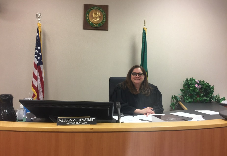 caption: Girls Court Judge, the Honorable Melissa Hemstreet, sits in the courtroom after a Girls Court session.