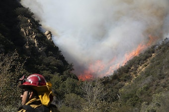 A firefighter monitors a wildfires burning along a hillside Sunday, Nov. 11, 2018, in Malibu, Calif. Fire officials say the lull allowed firefighters to gain 10 percent control of the so-called Woolsey fire, which has burned more than 130 square miles in western Los Angeles County and southeastern Ventura County since Thursday. (Jae C. Hong/AP)