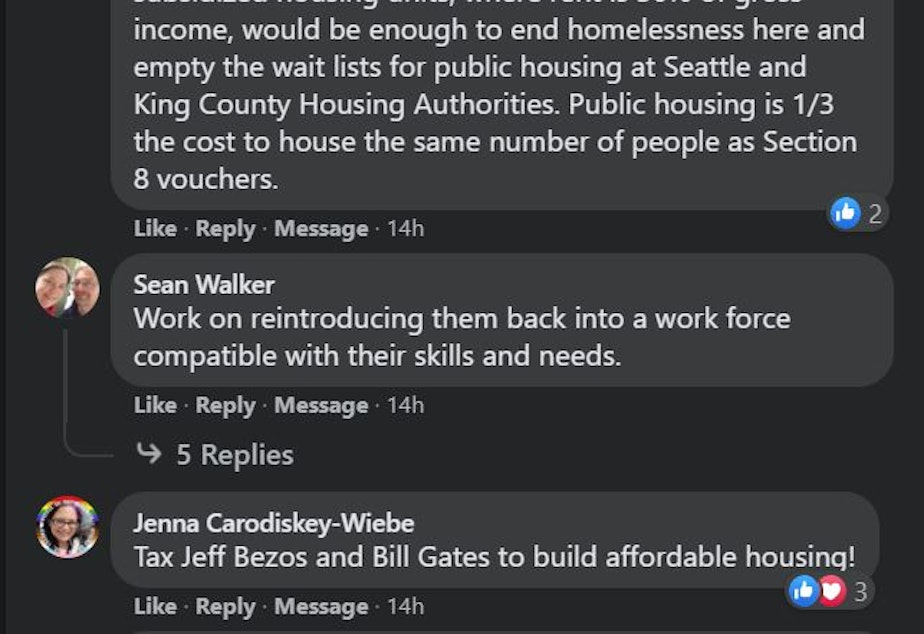 caption: KUOW listener responses on Facebook to the question: How would you solve the homelessness crisis in Seattle?