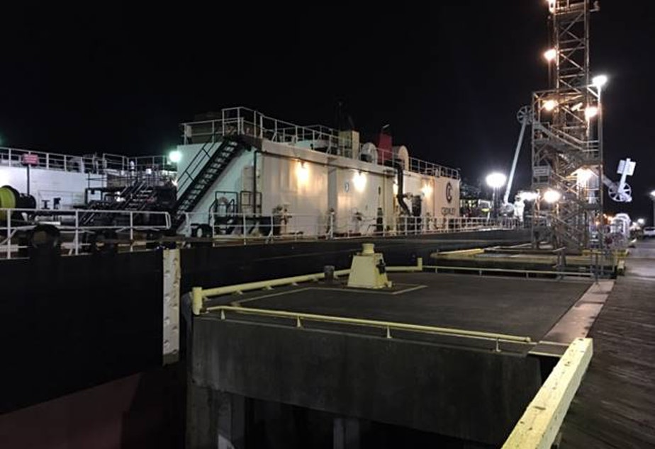 The Crowley Maritime barge that spilled an unknown amount of Alaskan crude oil into Fidalgo Bay off Anacortes Friday night.