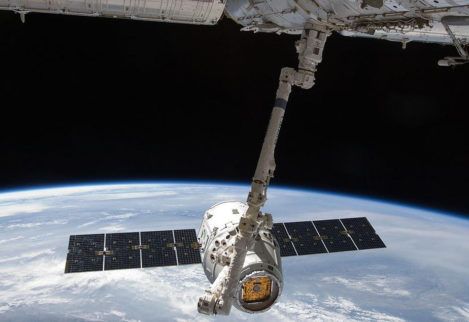 Dragon, SpaceX's version of an astronaut taxi to the International Space Station. Boeing has a rival spacecraft. A Dragon will be on display at the Museum of Flight January 17-19.