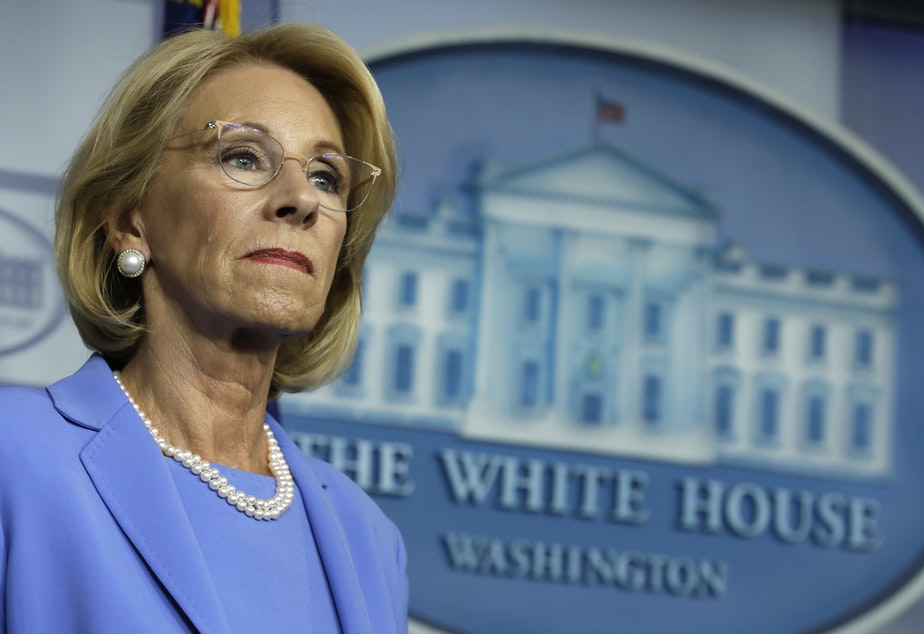 caption: U.S. Education Secretary Betsy DeVos backed a rule that would have increased private schools' share of CARES Act dollars from $127 million to $1.5 billion, according to one analysis.