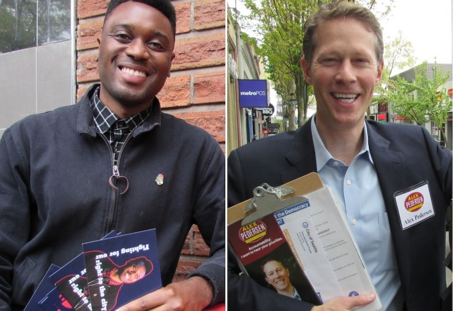 caption: Shaun Scott (left) and Alex Pedersen are among dozens of Seattle City Council candidates seeking democracy vouchers.