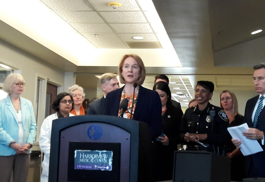 Seattle Mayor Jenny Durkan announced her plan to seek safe storage legislation in March at Harborview Medical Center.