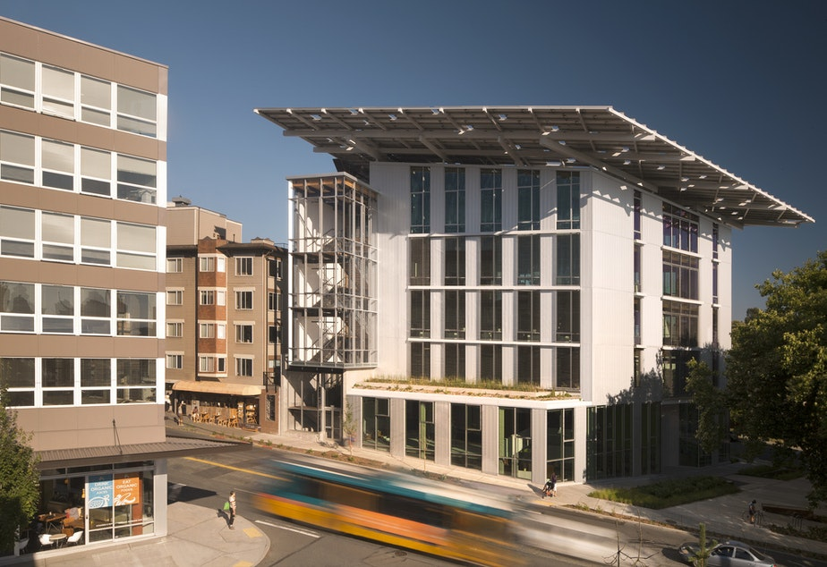 caption: Few big buildings are as eco-friendly as the Bullitt Center in Seattle, which generates its own energy.