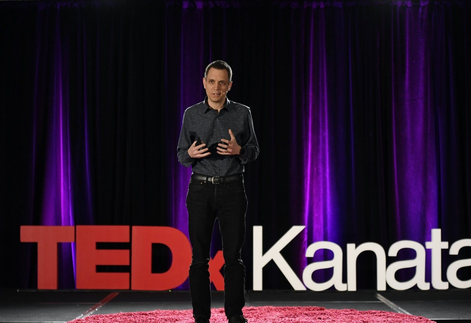 Mark Sutcliffe on the TED stage.