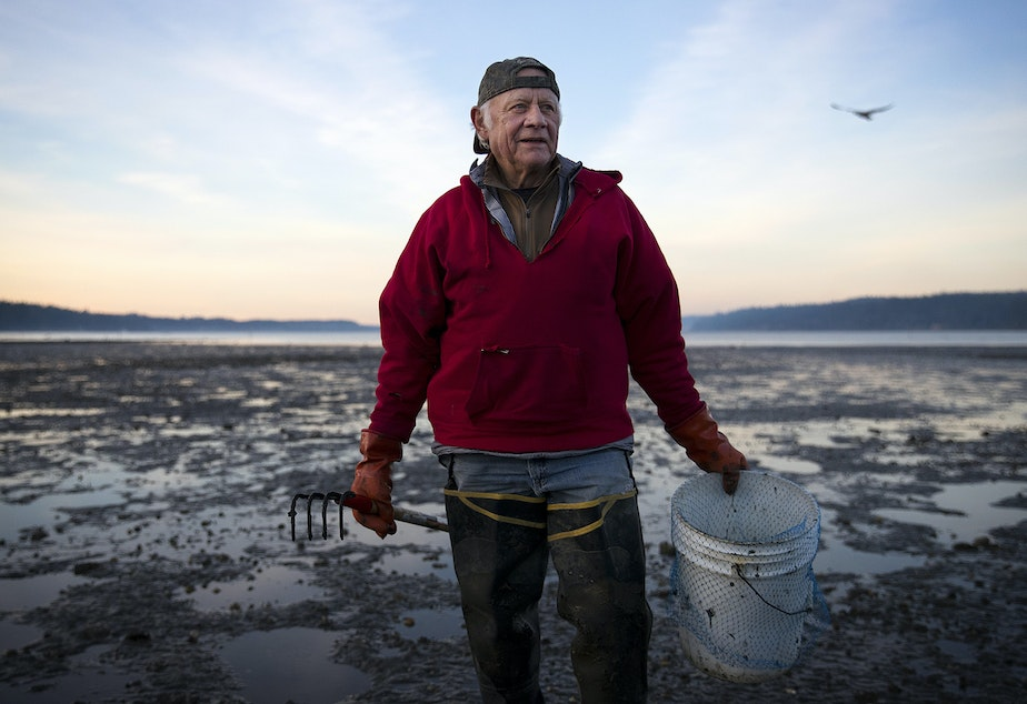 caption: Jamestown S'klallam elder Marlin Holden stands for a portrait on Jan. 29 at Littleneck Beach on Sequim Bay.