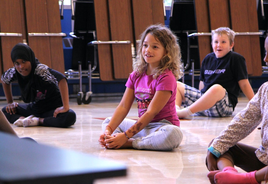 caption: A Seattle third grader auditions for Pacific Northwest Ballet's Dance Chance program.