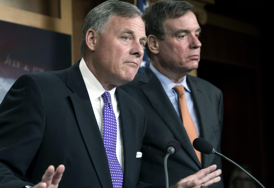 caption: Senate Select Committee on Intelligence Chairman Richard Burr, R-N.C., left, and Vice Chairman Mark Warner, D-Va., released a new report on how Russians used social media targeting to meddle with the 2016 election.