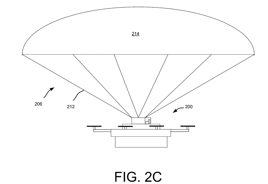 caption: An Amazon drone descends by parachute in yet an Amazon patent