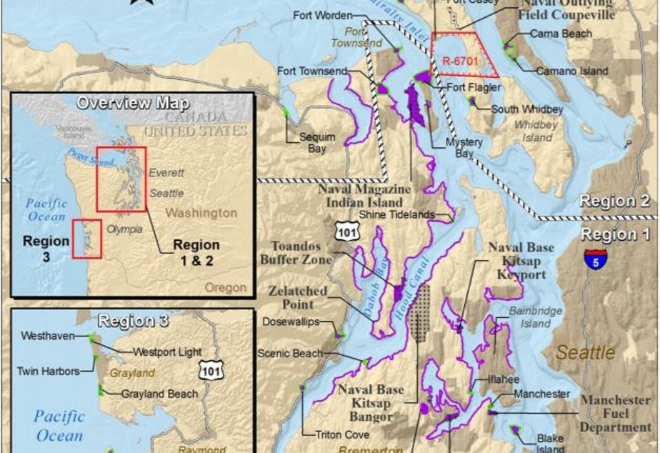 caption: Washington State Parks and other locations proposed for Navy SEAL training shown in purple