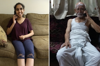 Medha Kumar (left) calls her grandfather on the phone (right).