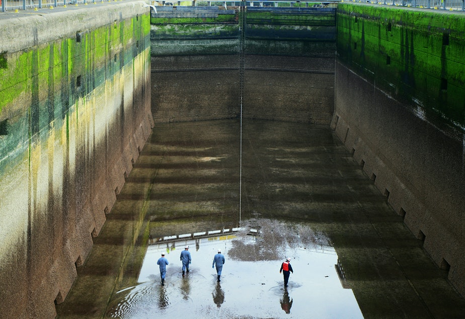 caption: The Ballard Locks in Seattle, empty for inspection.