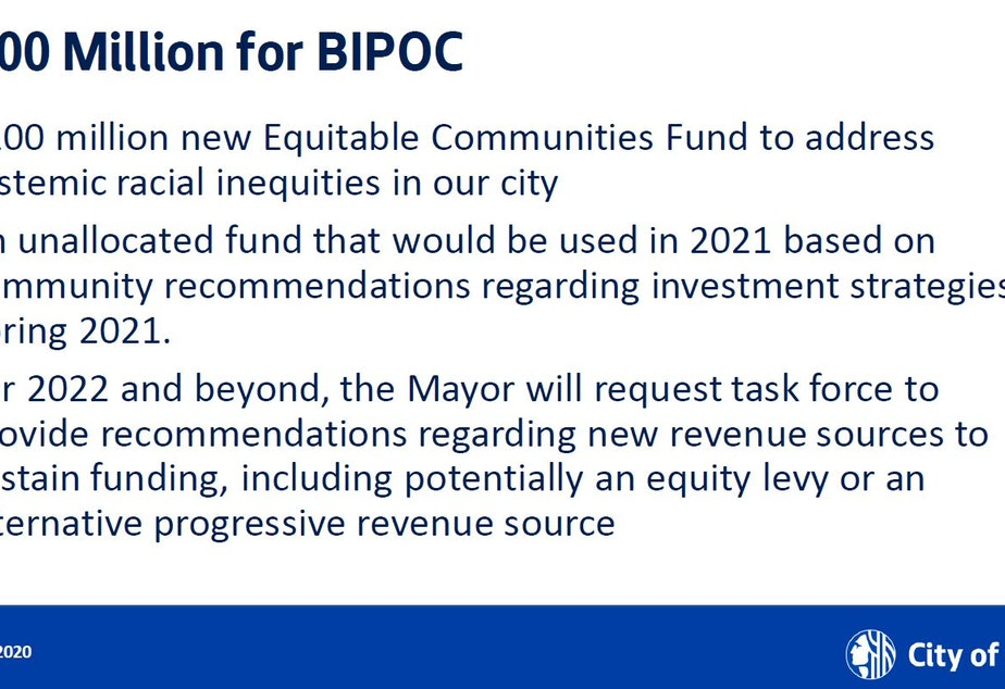 caption: A slide from Mayor Jenny Durkan's presentation on her proposed 2021 budget.