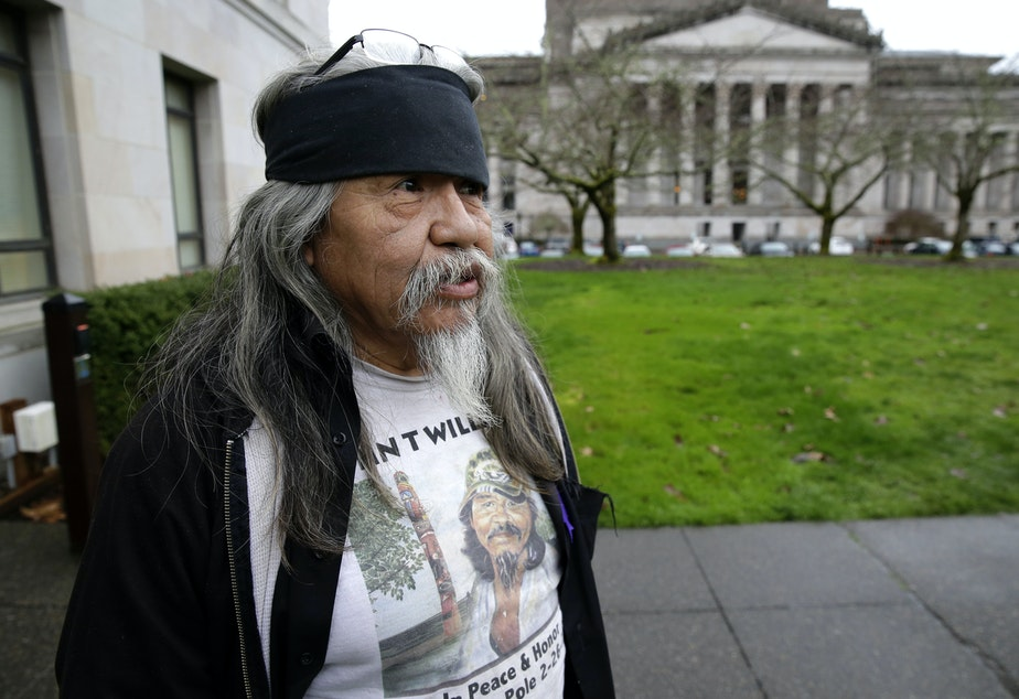 caption: Rick Williams, brother of John T. Williams, who was shot and killed by a Seattle Police officer in 2010, after he testified at a House committee hearing in Olympia, Wash. in 2016, for a bill that would make it easier to charge police officers with crimes.