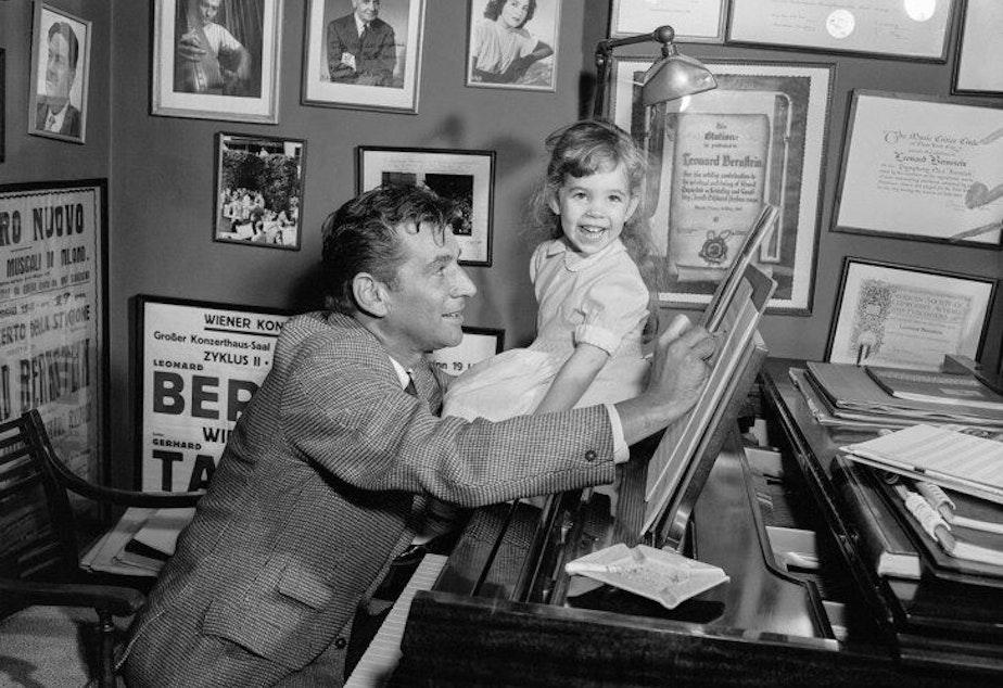 Jamie Bernstein with father Leonard at work.