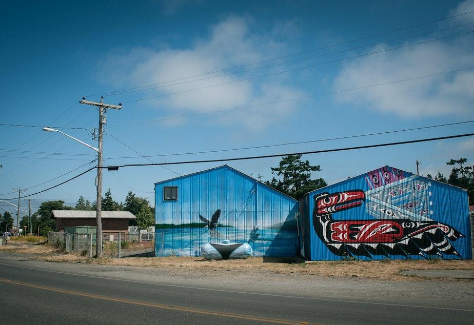 caption: Mural near the Fisherman's Cove Marina and Lummi Island Ferry on Lummi Nation.