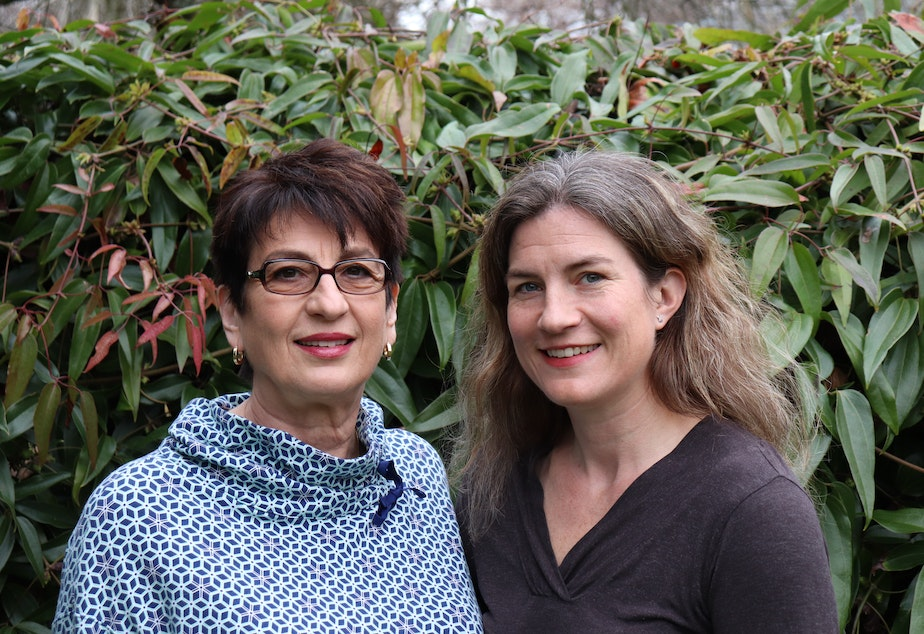 caption: Covid-19 vaccine trial participants and West Seattle residents mother Karen Mikacenic (left) and daughter Carmen Mikacenic.
