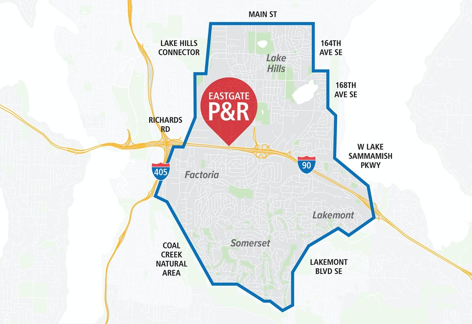 Ride2 Eastgate Park and Ride's service area. The pilot program could expand to other park and rides in 2019.