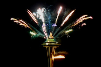 New Year's fireworks at the Space Needle.