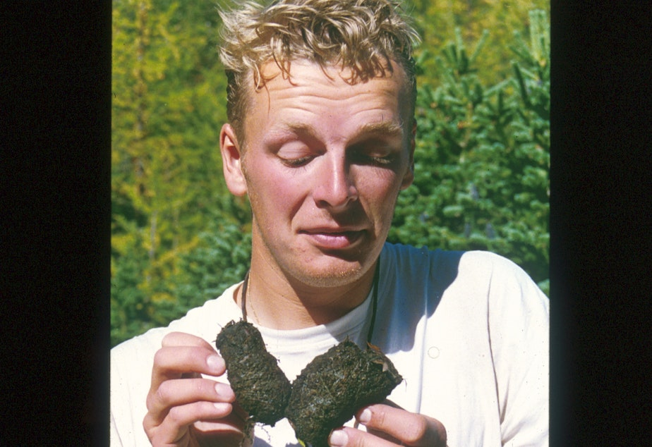 caption: Anyone who knows me will tell you how much I'm fascinated by scat. Here I am about age 21 with a grizzly bear scat. It was only a matter of time before we did an episode of THE WILD dedicated to the stuff. And there's more to it than meets the eye.