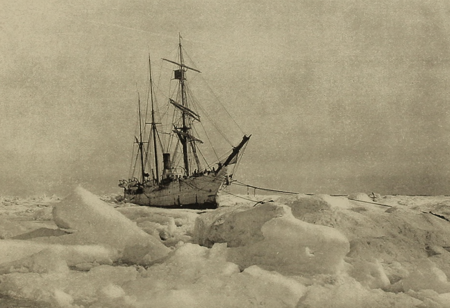 caption: The U.S.S. Bear, a cutter that was dispatched by President McKinley to rescue the Belvedere and other ice-bound whaling ships. The Bear wasn't able to break through the ice to Point Barrow until July 28, 1898. Today, there is no ice.