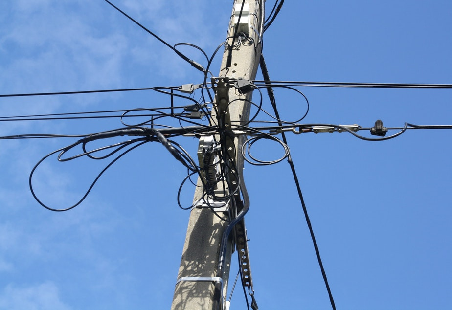 caption: A file photo of an internet pole in Brittany, France.
