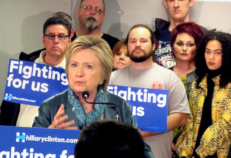 Hillary Clinton makes her case at the Boeing Machinists union hall in Everett on Tuesday afternoon.