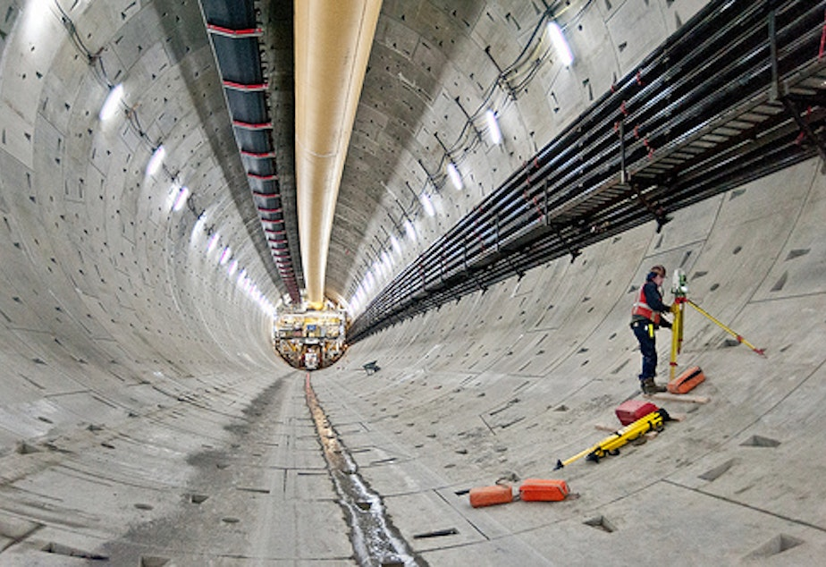 caption: A view of the Highway 99 tunnel project, which has been stalled for over a year since Bertha, the boring machine, broke down.