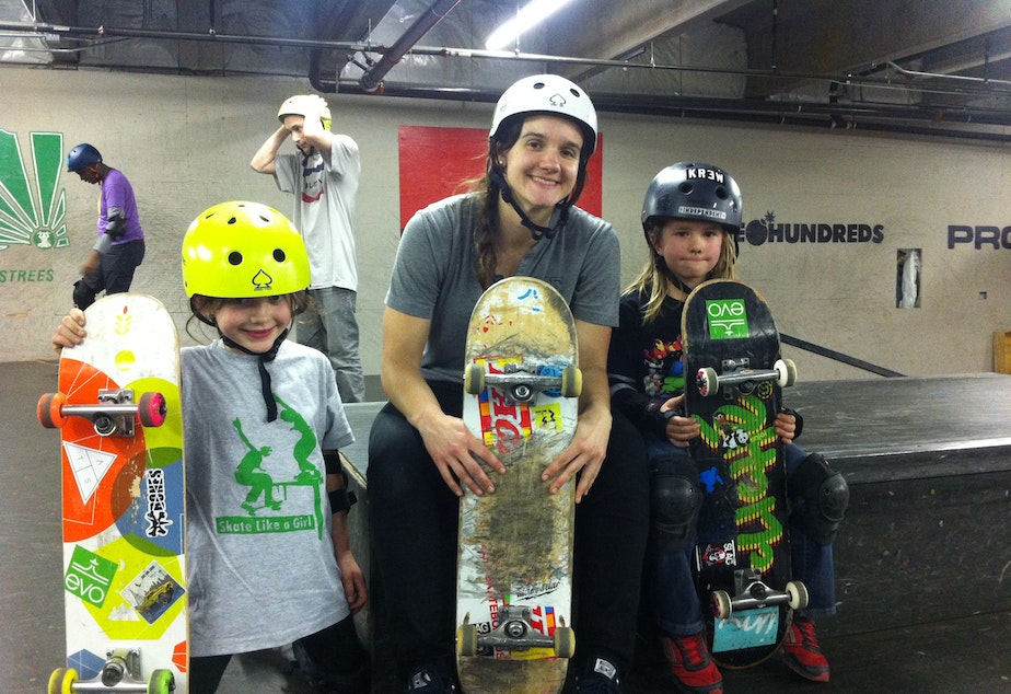 Emma, 7, Skate Like A Girl's Seattle program director Kristin Ebeling, 25, and Maya, 6.