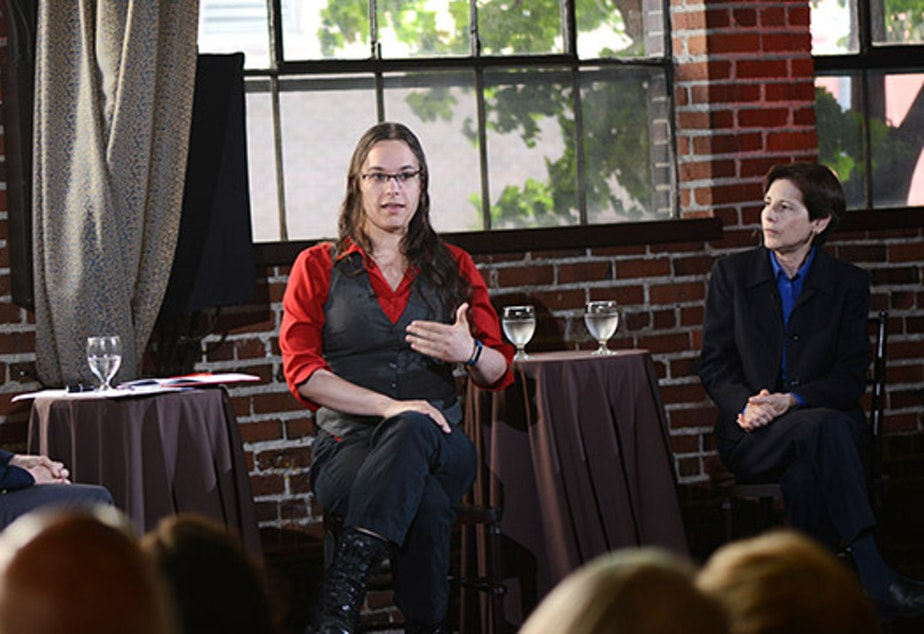 caption: Left to right: Joni Balter, Tobi Hill-Meyer and Anne Levinson at Civic Cocktail